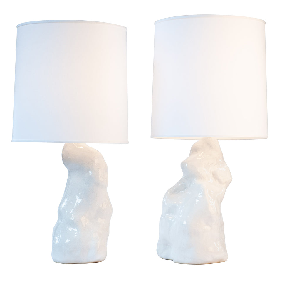 White Amorphous Lamp Pair Detail 1