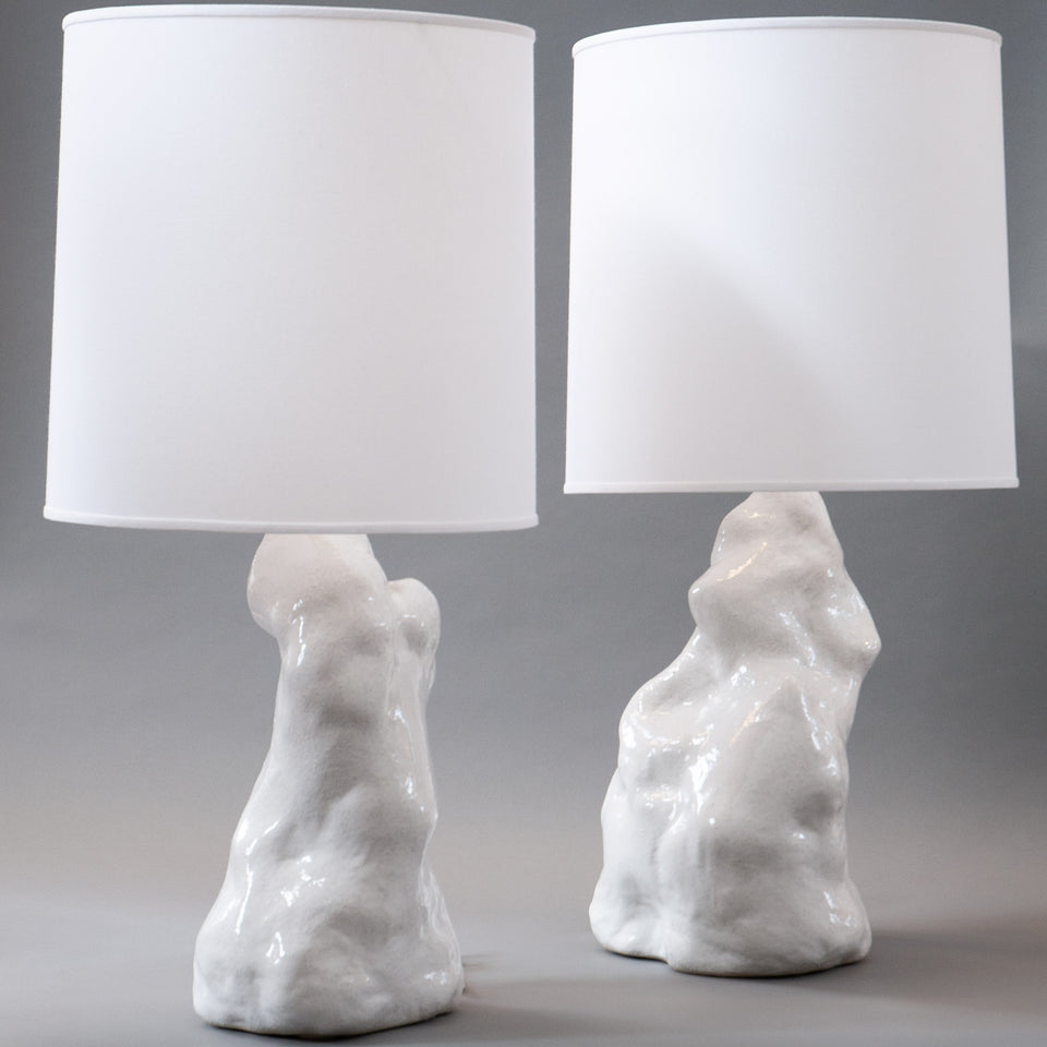 White Amorphous Lamp Pair