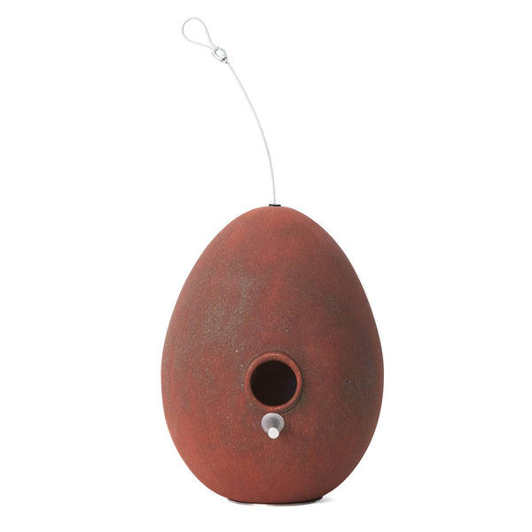 J Schatz Egg Bird House in Rust Red