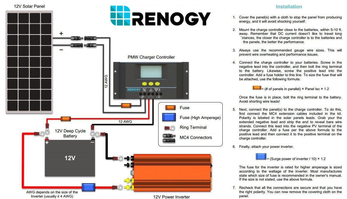 9kit starter100d_4ad7c0a8 174f 4be1 8ca7 3c96f4e4a363?v=1464899620 renogy 100w watts 12v monocrystalline solar panel off grid kit for renogy wiring diagrams at gsmx.co