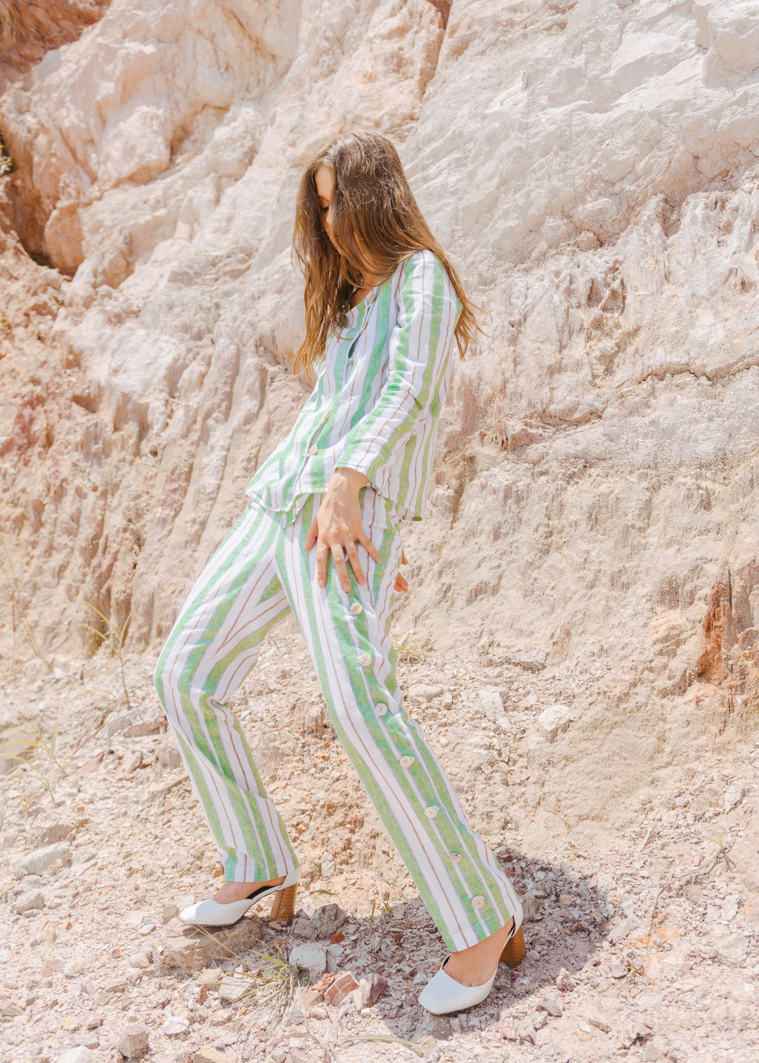 Aurora Trousers in Green Stripes