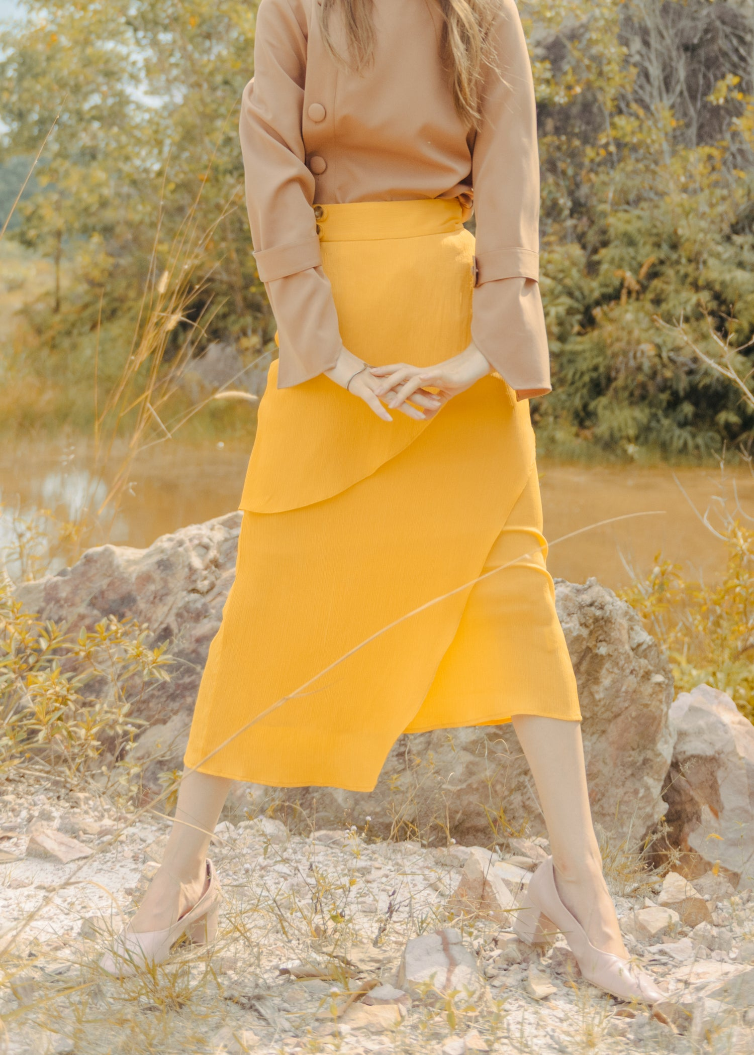 Avery Asymmetrical Skirt in Yellow