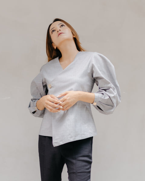 Nahera Oversized Top in Grey Checkered