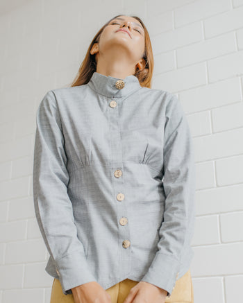 Nandy Stand Collar Top in Grey Checkered