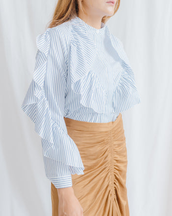 Dalia Long Sleeved Top in Thin Blue Stripes