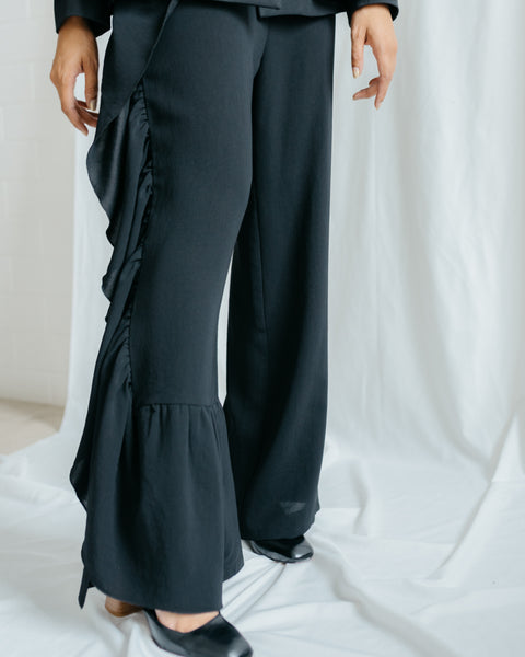 Elena Ruffled Long Pants in Black