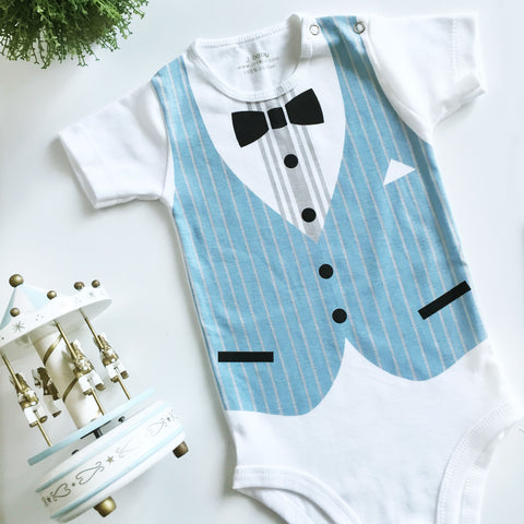 Bodysuit Formal Rompi Biru Stripe