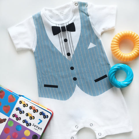 Romper Formal Rompi Biru Stripe