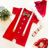 Romper Formal Christmas Boy 2 In 1 Merah