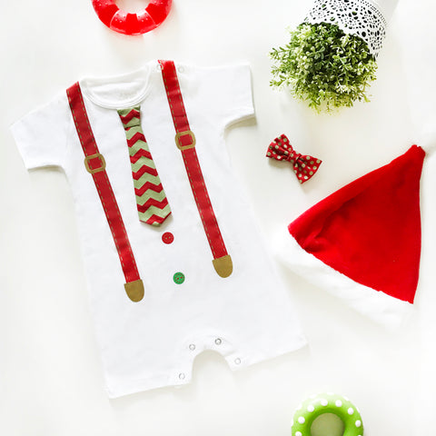 Romper Formal Christmas Boy 2 in 1 Putih