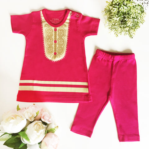 Baju Bayi J baby Set Dress Hari Raya Pink Gold + Legging