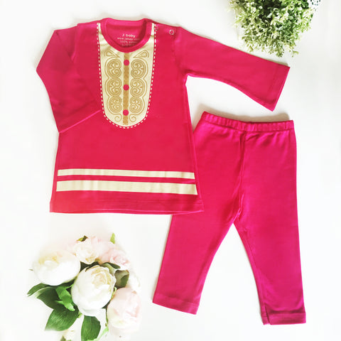 Baju Bayi J baby Set Dress Hari Raya (Koko) Fanta Lpj + Legging