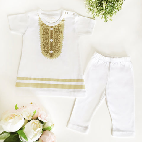Baju Bayi J baby Set Dress Hari Raya Putih Gold + Legging