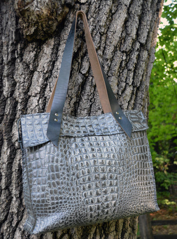 Black/Grey Alligator Embossed Leather Tote