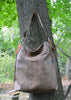 Brown bison hobo bag