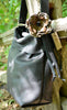 Black Hobo Bag with Leather Flower