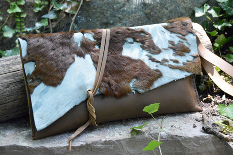 Acid Washed Cowhide Clutch