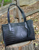 Black Leather tote with tassels