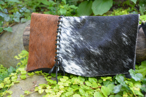 Black and Brown cowhide and leather clutch