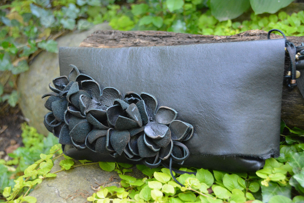 Black Leather Clutch with Leather Flowers