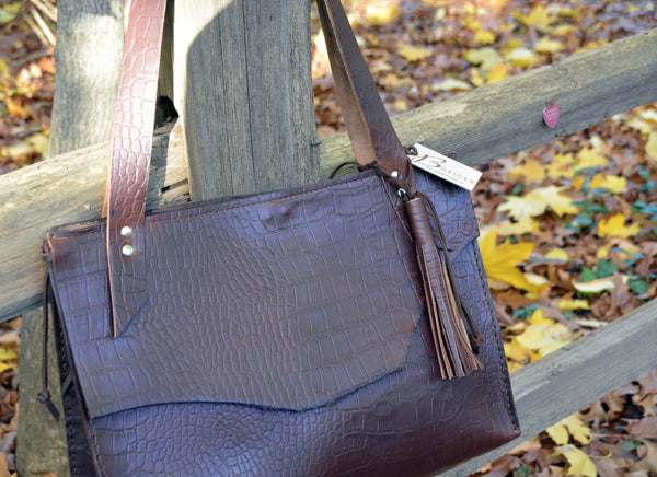 Brown Embossed Leather Tote