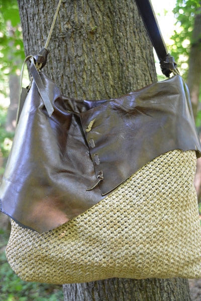 Boho Straw and Leather Hobo Bag