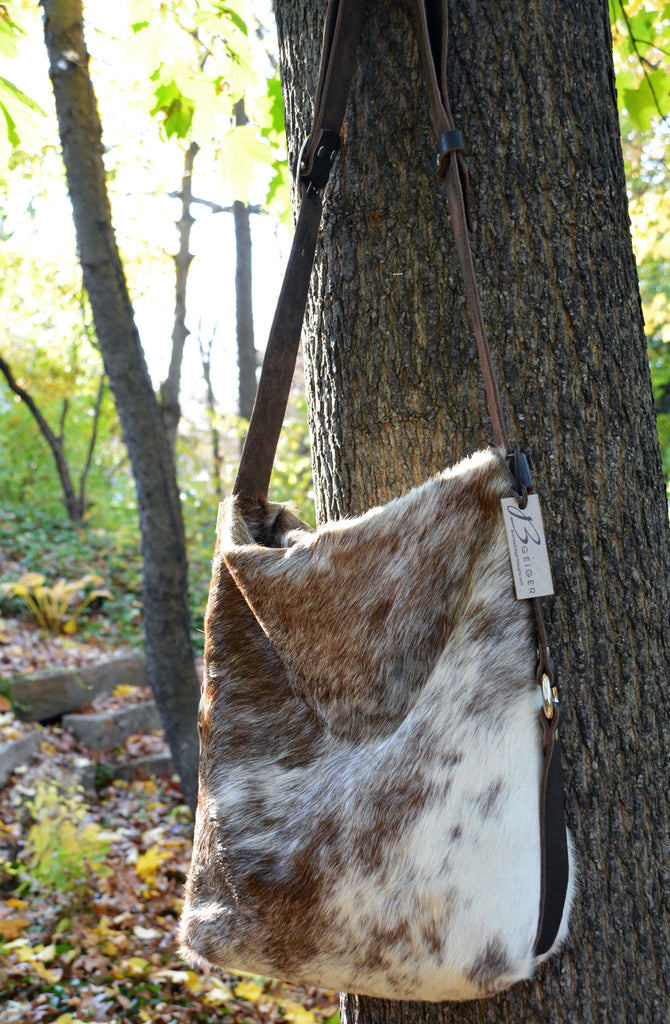 Brown and White Natural Cowhide Cross body Purse