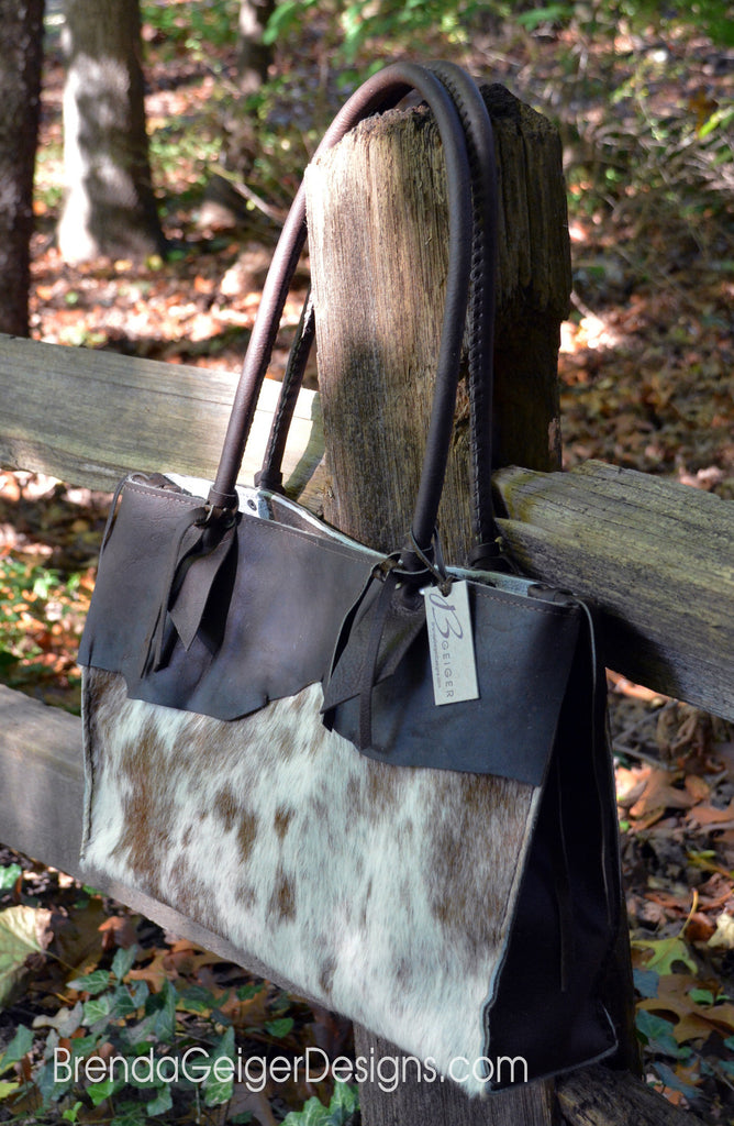 Casual Cowhide Tote - Brown/White