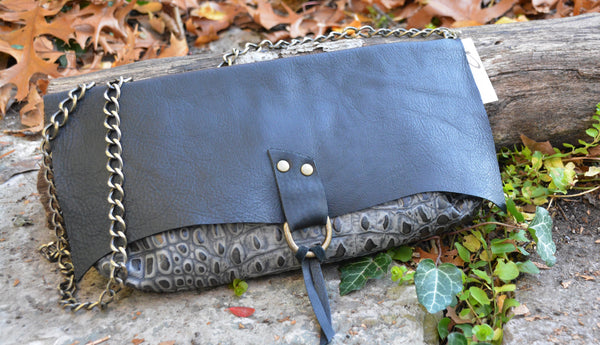 Embossed Leather purse with Chain