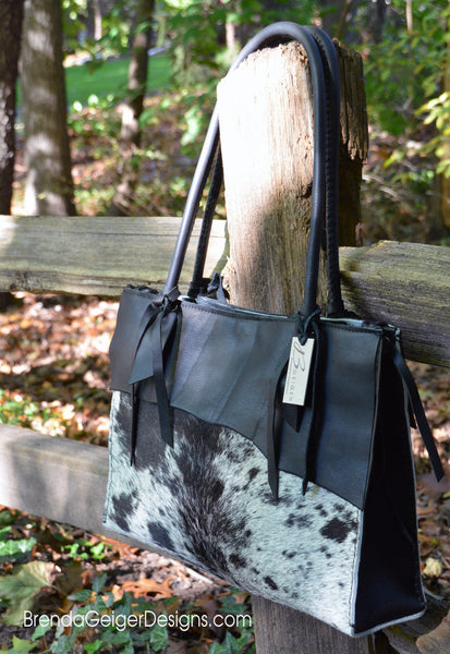 Natural Cowhide tote Black/White