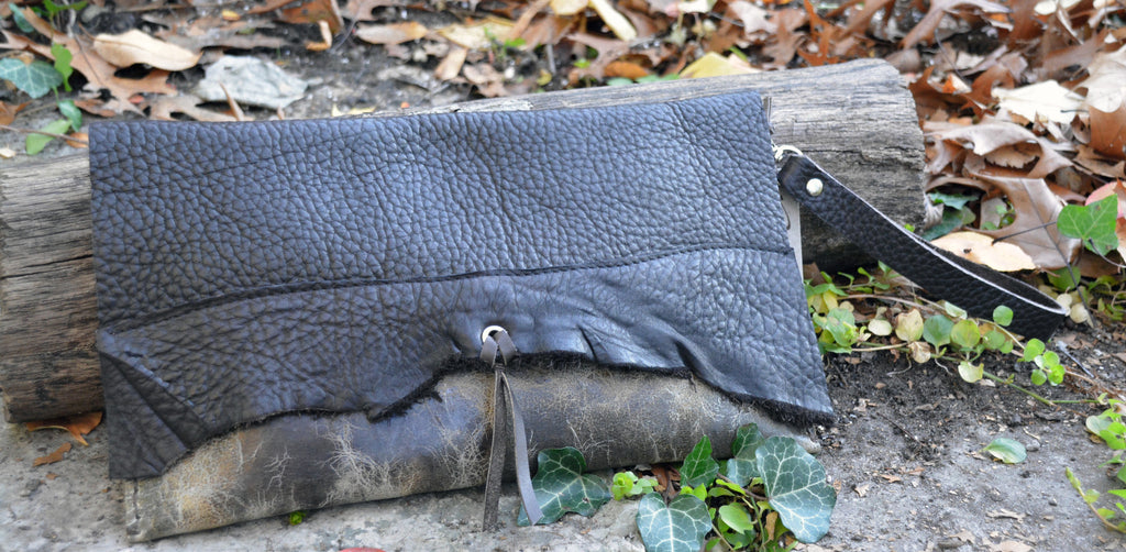 Distressed Brown Leather Clutch