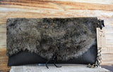 Shearling and Leather Clutch