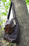 Brown Leather Purse with Leather Flower