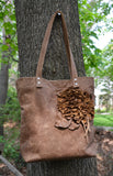 Light Brown Tote with Leather Flower