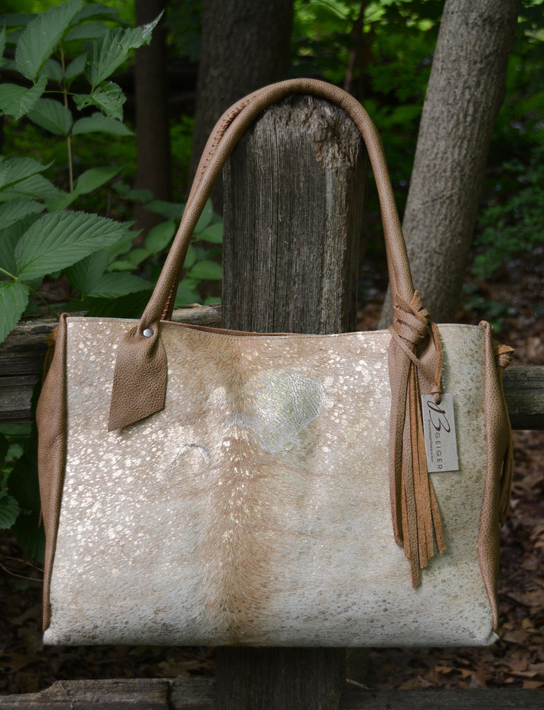 Gold Metallic Cowhide Tote