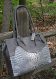 Grey Leather Alligator Embossed Tote