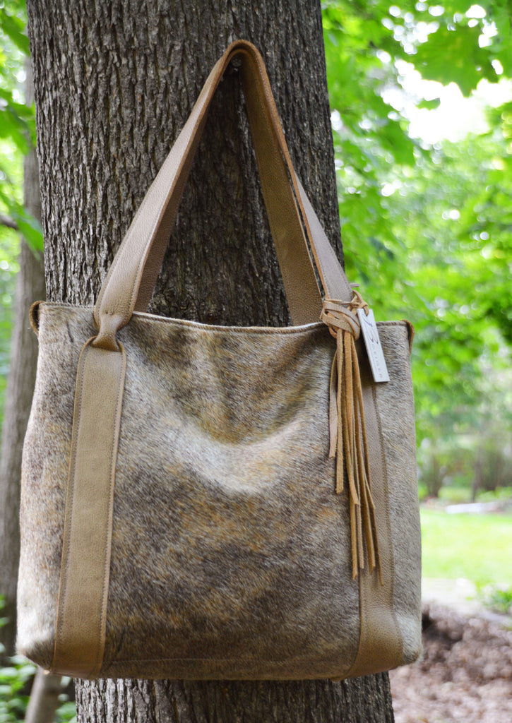 Classic Cowhide Tote - Beige and Black