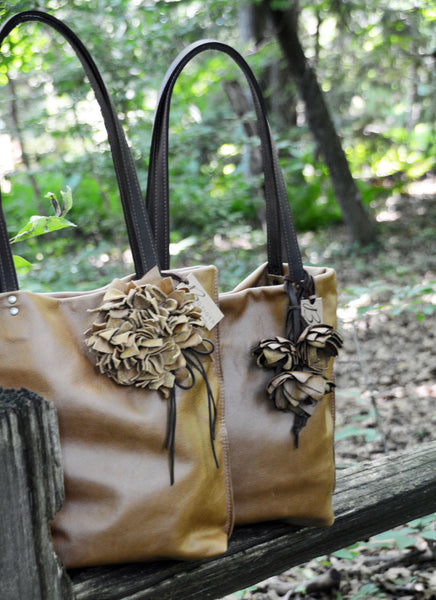 Cognac Leather Totes with Leather Flowers