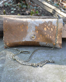 Metallic Cowhide Clutch with Crossbody Chain
