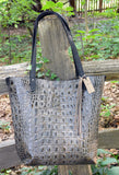 Large Alligator Embossed Leather Tote