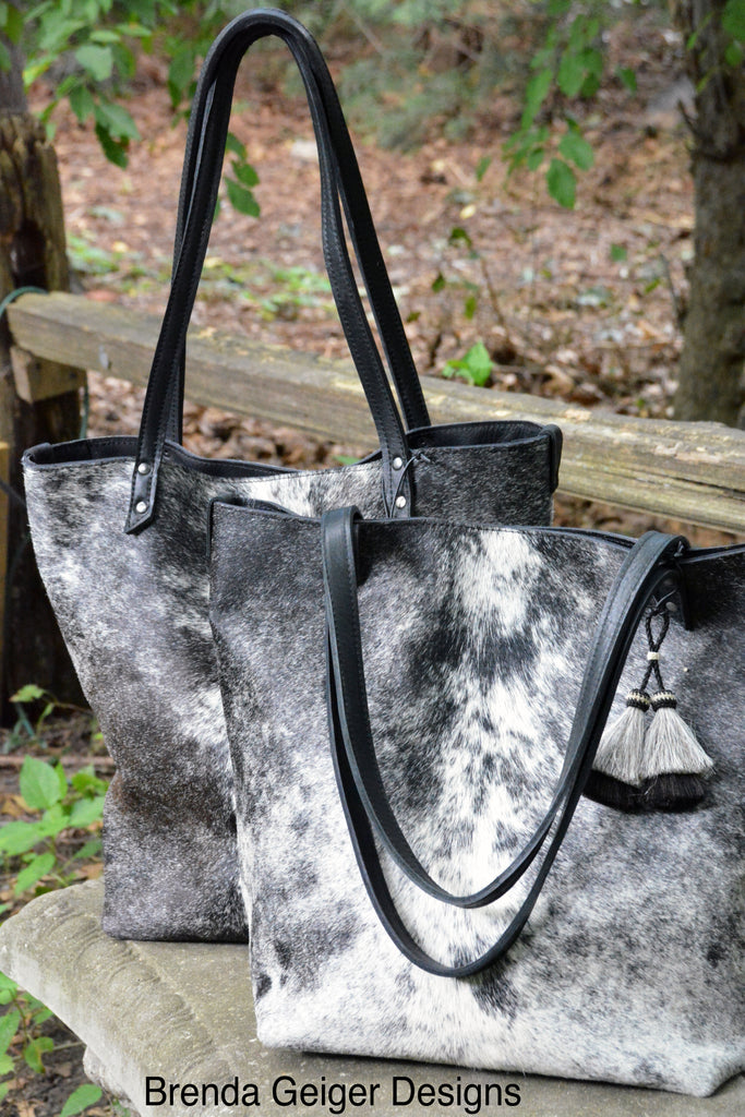 Cowhide Tote - Black & White