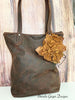 Leather Flower Tote