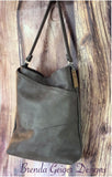 Leather Hobo Purse Grey/Taupe