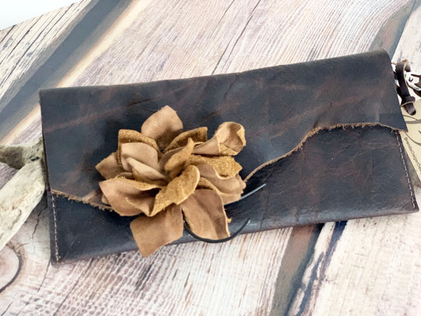 Brown Leather wallet with leather flower