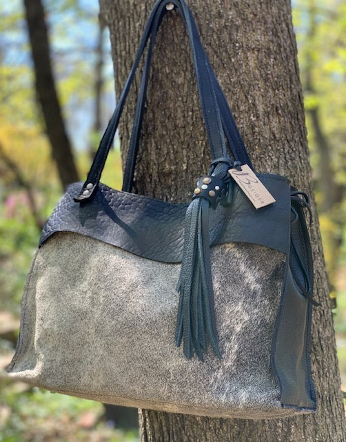 Black/Grey Cowhide Tote - Special order for Laura