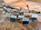 Small Bezel Light and Dark Cowhide Earrings