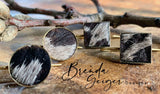 Small bezel Cowhide Earrings