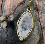 Marquise Bezel Pendant Necklace with Metallic leather cowhide