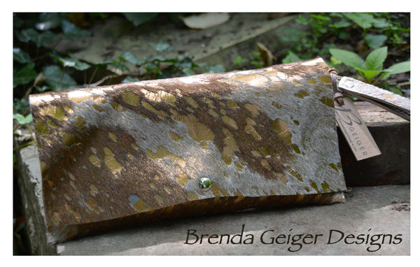 Metallic Tan and White Cowhide Clutch
