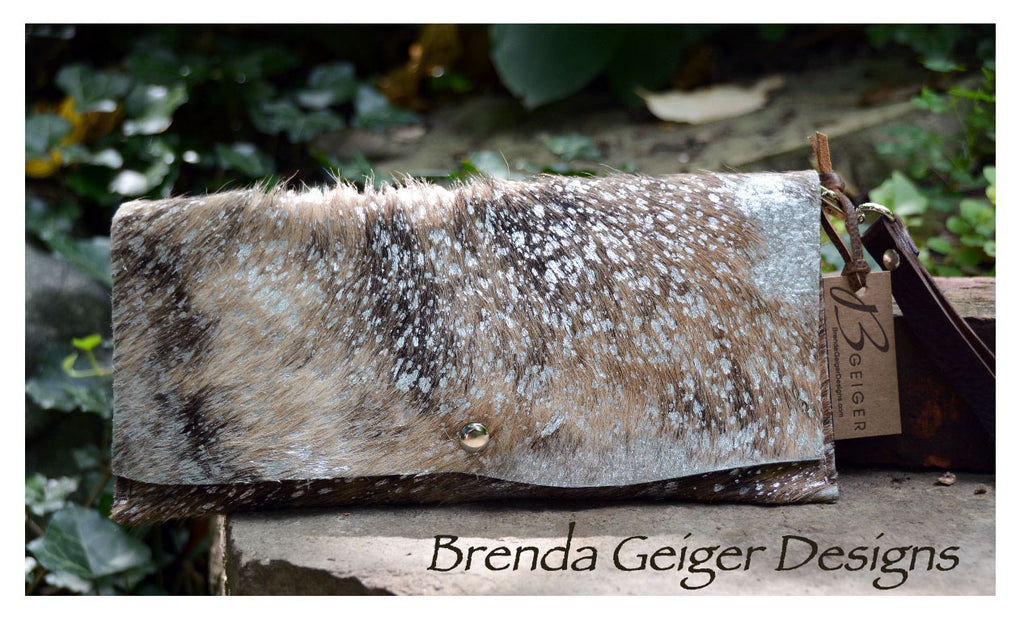 Metallic Brown and White  Cowhide Clutch